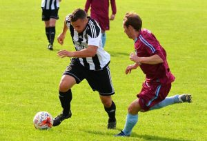Matthew Evans in action v Churchstoke